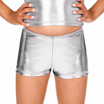 Toddler Low Waist Lycra Child Metallic Dance Shorts Girls Shiny Mini Stage Performance Shorts Ballet Dance Shorts for Baby