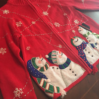 Woman's Ugly Chistmas Sweater Cardigan.  Snowman, Lots Of Detail, Tacky!! Gaudy Christmas Sweater.