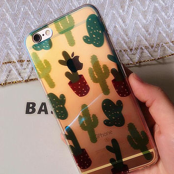 Lovely cactus phone case for iphone 6 6s 6 plus 6s plus + Nice gift box 080902