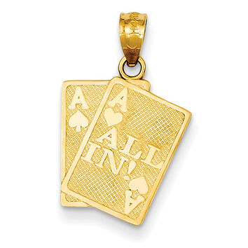 14k Ace of Hearts & Ace of Spade All In! Cards Pendant C3045