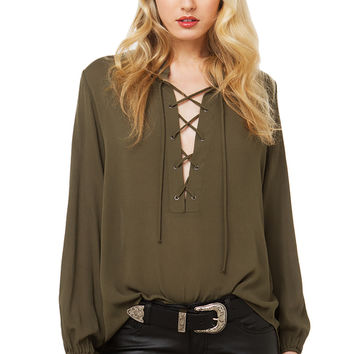 In The End Flowy Lace Up Top - Olive