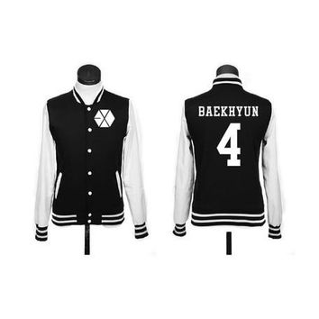 Hot EXO XOXO WOLF GROWL baseball uniform JACKETS with name hoodie black FREE SHIPPING