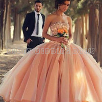 Luxury Colorful Wedding Dresses Beaded Tulle Ball Gown Wedding Dress 2016 Sweetheart Peach/Champagne Bridal Dresses PG37