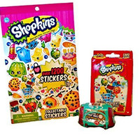 Stocking Stuffer Shopkins bundle of 3: Shopkins sticker book, Shopkins Super Shopper Card Game and 2 Shopkins in a Basket, Series 3