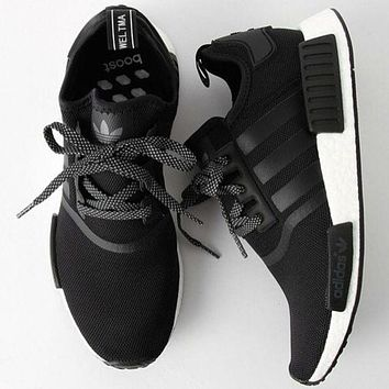 Adidas NMD R1 3M Reflective shoelace Women Men Fashion Trending Running Sports Shoes Black G