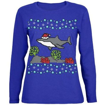 LMFCY8 Ugly Christmas Sweater Shark Santa Hat Womens Long Sleeve T Shirt