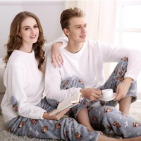 Winter Flannel Couple Pajama Sets For Women O Neck Long Sleeve Thickening Christmas White Pijama Mujer
