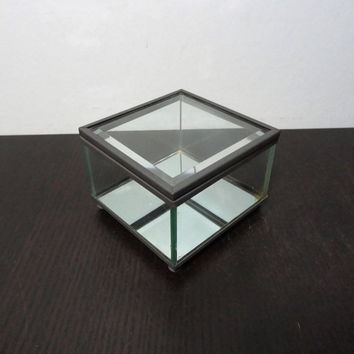Vintage Square Beveled Glass and Grey Metal Footed Display Box with Mirrored Bottom - Industrial Decor