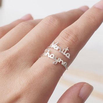 Personalized Adjustable Double Name Couple Rings