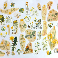 Yellow Flowers Paper pack, Floral themed paper ephemera pack, nature paper ephemera lot, journal pack, paper flowers