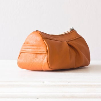 Leather cosmetic case, makeup bag in Orange