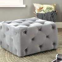 Sonja collection grey tufted padded flannelette square ottoman foot stool