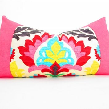 Bohemian Chic Decorative Designer Pillow Cover, Long Lumbar Pillow, Orange, Red, Olive Green and Yellow, Hot Pink Pillow Cushion