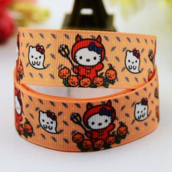 7/8'' (22mm) Halloween Hello Kitty Cartoon Character printed Grosgrain Ribbon party decoration satin ribbons X-00486 10 Yards
