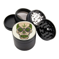 "White & Green Sugar Skull - 2.25"" Premium Black Herb Grinder - Custom Designed"