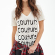 FOREVER 21 Couture Linen Tee Beige/Black