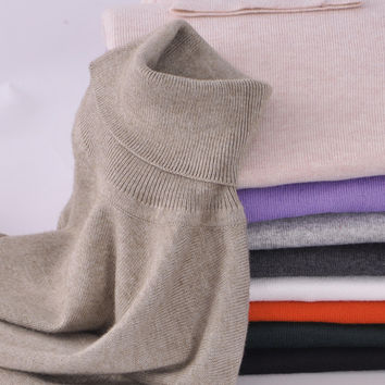 S to 5XL Women Soft Cashmere Elastic Sweaters and Pullovers Autumn Winter Sweater Turtleneck Female Wool Knitted Brand Pullover