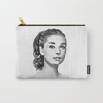 Audrey Hepburn watercolor portrait Carry-All Pouch by Mrnobody