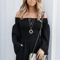 Never Lost Black Long Sleeve Strapless Romper