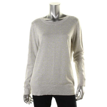 Maison Jules Womens Knit Studded Pullover Sweater