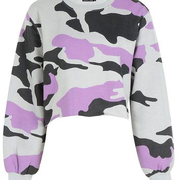 Lucie Balloon Sleeve Raw Hem Camo Sweat | Boohoo