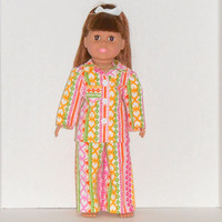 American Girl Doll Flannel Pajamas with Pink & Green Stripes