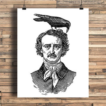 Edgar Allan Poe With Raven, Literature, Poet, Writer, Spooky, Halloween, College Dorm Room Decor, Indie, Tattoo Design, Giclee Art Print