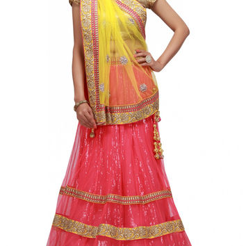 Pink lehenga choli with zari lace work online