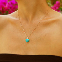 Heart necklace, Turquoise necklace, gold necklace, bridesmaid necklace, gold heart, turquoise pendant, heart necklace, bridesmaid jewelry