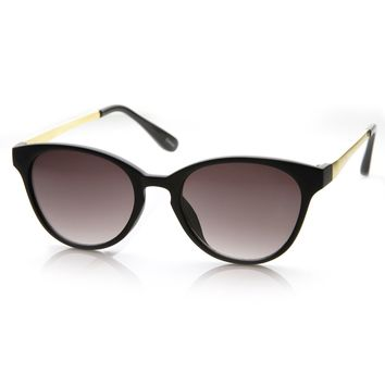 Womens Fashion Small Oval Key Hole Bridge Cateye Sunglasses