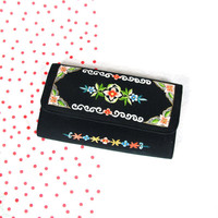 Vintage Chinese Emboidered Wallet Boho Floral Wallet Black Floral Wallet Asian Womens Clutch Purse Hand Embroidery