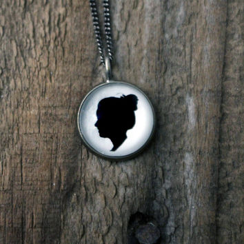 Simple Silhouette Pendant with Custom Cameo