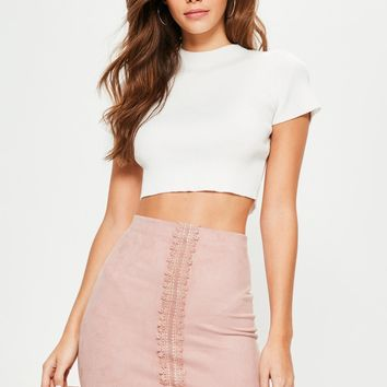 Missguided - Pink Faux Suede Lace Detail Mini Skirt