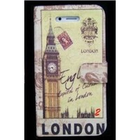 Brown Vintage Retro London England Wallet Style Flip case with Big Ben Clock Tower Design For Apple iPhone 4S / 4 (AT&T, Verizon, Sprint)