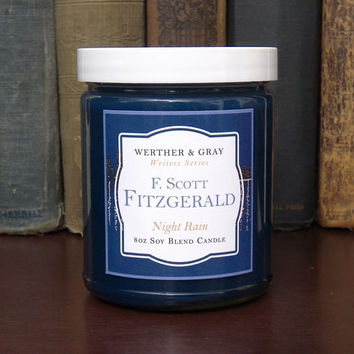 F. SCOTT FITZGERALD, Scented Candle, Jazz Age, 1920s Decor, Flappers, Literary Candles, Gifts For Writers, Rain Candle, Book Themed Candle