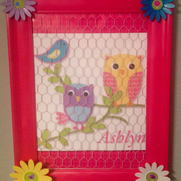 bow holder organizer board bulletin board playroom children decor wall hanging custom personalized upcycled frame chicken wire hoot owl