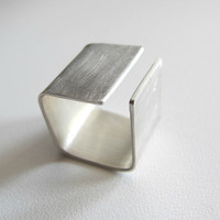 Silver Square  band ring made to order, modern, simple, contemporary jewelery.