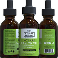 100% Pure Organic Castor Oil - Unrefined, Cold Pressed & Hexane Free - Best for Hair Growth, Eyelashes, Acne, Moisturizer & Natural Skin Care Treatment - 4 Oz