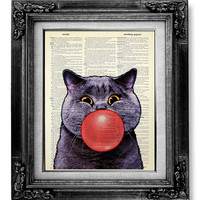 DECORATIVE ART, Cat Wall Hanging, Cat Gift, OFFICE Art, Funny Cat Print, Cat Illustration, College Dorm Wall Decor, Old Book Art, Bubble Cat