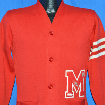 40s H.L. Whiting Red Striped Letterman Cardigan Sweater Small