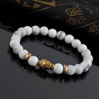 Men's Gold Buddha Elastic White Stone Beaded Bracelet