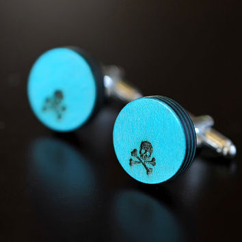 Skull blue wood cufflinks