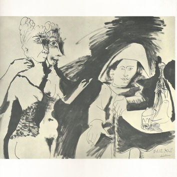 "Pablo Picasso 1972 Vintage Lithograph Signed on the Plate Entitled ""Arlequin et Femmes"" c. 1970 From Heller Gallery - Classic Picasso Nude"
