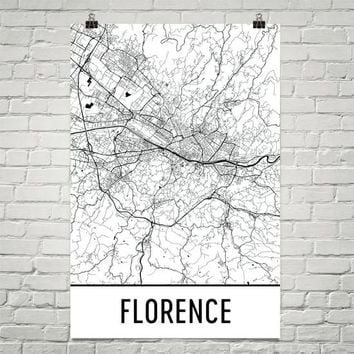 Florence Italy Street Map Poster