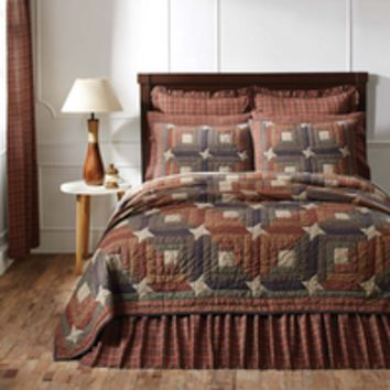 Parker - 9pc King - Super Set - Log Cabin/Stars Patchwork - Quilt, 2 Euro Shams, Bed Skirt, Valance Pillow Cases and 2 Luxury Quilted Shams - Burgundy, Navy & Natural - Spring 2017