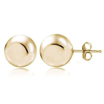 Gold Tone over Sterling Silver 7mm Polished Ball Bead Stud Earrings