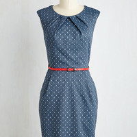 Mid-length Cap Sleeves Shift Teaching Classy Dress in Navy Dots