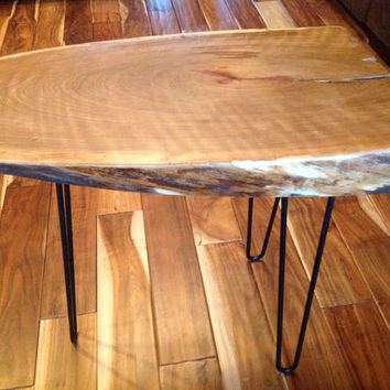 Solid Cherry Live Edge Table with steel hairpin legs. This is a beautiful & thick, live edge wood slab, crafted into a unique accent table.