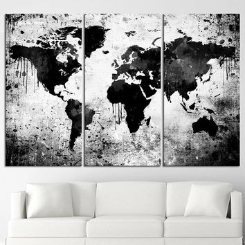 Black White World Map Canvas Print - Contemporary 3 Panel Triptych Gray Extra Large Wall Art - MC111