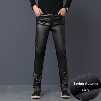 #2201 PU Faux Leather Pants Men Windbreak Waterproof Motorcycle Work Trousers High Elastic Leather Slim Fit Plus Size Fashion